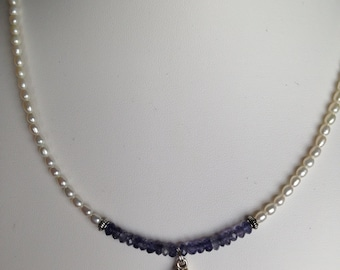 Necklace - Iolite and Sterling Pendant, Iolite, Freshwater Pearls, Pewter Accents
