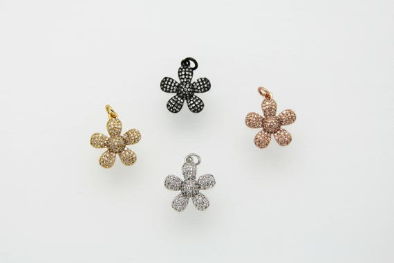 CZ Micro Pave 18mm Flower Pendant With Jump Ring