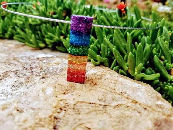 Transparent Pendant - Sparkling Rainbow, Square