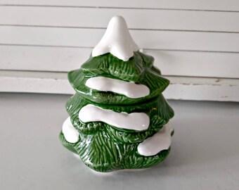 Ceramic Japanese Christmas Tree / Collectible Holiday Jars / Candy Dish / Vintage Holiday Gift / Vintage Holiday Decor