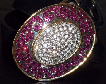 Pink and Silver Crystal Petite Belt Buckle