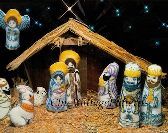 Christmas Nativity Pattern ... Christmas Creche ... PDF Embroidery Pattern ... Christmas Decoration ... Crewel ... Instant Download