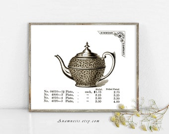 TEAPOT - digital download - printable antique illustration retooled by Anamnesis - image transfer - totes, pillows, prints, clothes
