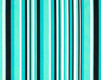Windham Fabrics Graffiti Turquoise Stripe Fabric - Black Striped Fabric - Modern Fabric - 37405 1 Another Point of View Quilting Cotton