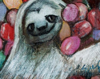 original art  aceo drawing sloth Easter jelly beans colorful