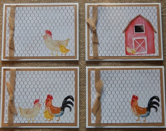 Farm Design Note Cards, A2 Note Cards, Watercolor Farm Motif Note Cards, Chicken Note Cards, Rooster and Chicken Notecards