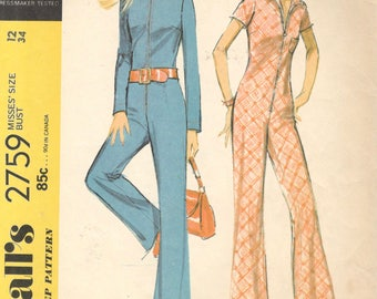 McCalls 2759 1970s  Misses Zip Front Jumpsuit Pattern for Knits Space Age Womens Vintage Sewing Pattern Size 12 Bust 34 UNCUT