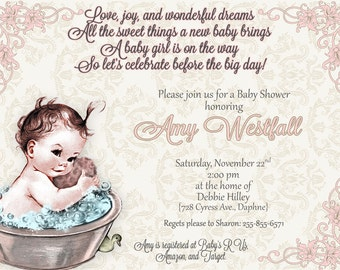Vintage Baby Shower Invitation | Bathtub Baby | Choose your own wording | Print your own