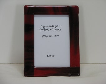 Black / Red 5x7 Fused Glass Picture Frame