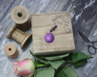 Vintage Cotton, Disc Pendant in Purple Anodised Aluminium with Haemetite and Glass Beads- Pendant Necklace, Ideal Gift