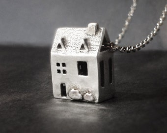 Doll house Necklace - MINI version - Sterling Silver Jewelry - House Warming Gift - inspired by dollhouses and miniatures