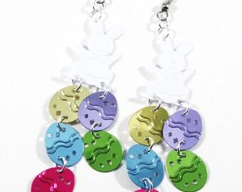Easter Bunny Earrings Colorful Easter Eggs Earrings Confetti Dangles Plastic Sequins