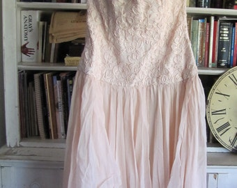 GORGEOUS Vintage SILK  Julie Duroche for After Five Pink Strapless Dress Embroidered size Small