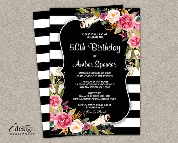 Elegant boho chic stripe 50th birthday party invitation l diy elegant boho chic stripe 50th birthday party invitation l diy printable botanical black and white striped invite with watercolor flowers filmwisefo Gallery
