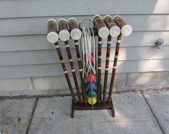 Wood Croquet Set with Stand 6 Vintage Mallets 6 Balls and Wickets