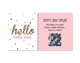 22 Custom Scratch Off Girl Baby Shower Game Cards - Hello Little One - Pink & Gold -  Printed Personalized Party Games