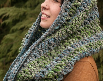 Cowl Infinity Scarf Giant Infinity Scarf, Grey, Blues & Greens Ready to Ship, Christmas in July