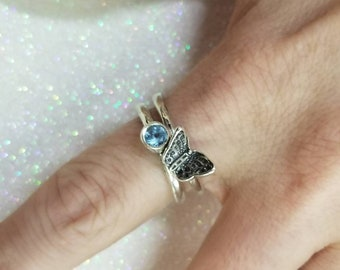 Pair of Sterling Silver 925 Butterfly and Blue Topaz? Gemstone Rings