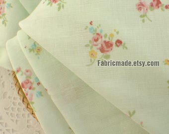Double Layers Cotton Gauze Fabric,  Mint Green Gauze Cotton With Pink Rose Floral Soft Cotton For Baby Kids - 1/2 yard