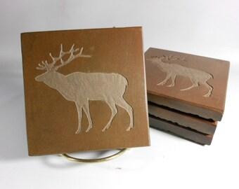 Slate Coasters: DEER Coasters - 4 Etched Stone Coasters, Hand Carved Slate Coasters, Rustic Lodge Cabin Mountain Home Decor, Hunter Gifts