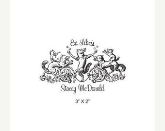 May Sale Fox Juggling Storybook Series Custom Ex Libris Bookplate Rubber Stamp K25