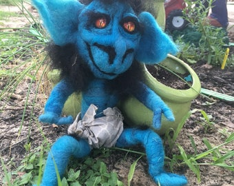 ooak needle felted Colbalt the hobgobblin layaway available