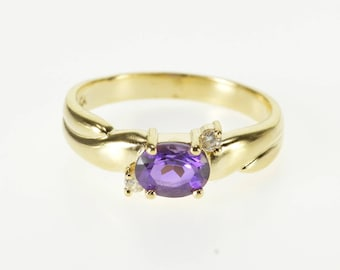 14K Oval Amethyst Cubic Zirconia Accented Freeform Ring Size 7 Yellow Gold