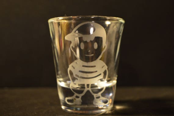 Earthbound etched shot glass Ness fan art