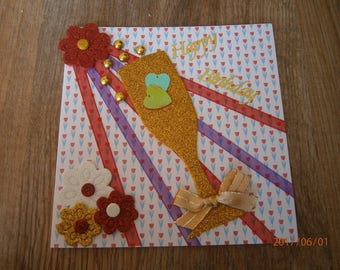 """Birthday theme """"Happy brithday"""" card, small plate of field!"""