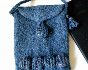 SALE - eReader Case Carrier for the Kindle Fire, Nook, i-Pad Mini, Kobo - Felted Wool - Blue Spot