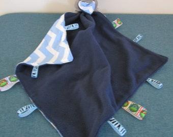 Taggy baby comforter-Elephant toy,Ninja turtles,blue tiger stripes ribbons-cotton,polar Fleece.
