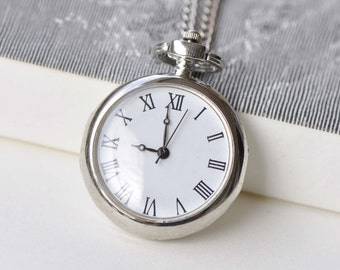 1 PC Platinum Elegant Pocket Watch Pendant A8770