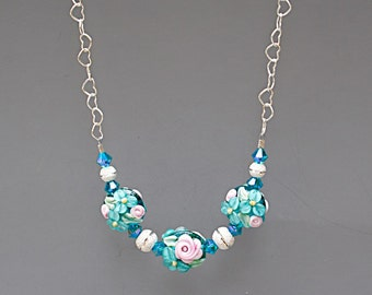 Floral Necklace and Earring Set - Teal Jewelry Set - Lampwork Glass Jewelry - Christmas Gift for Wife