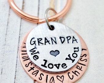 Grandpa Keychain, Grandfather Gift, Grandpa Gift, Gift for Papa, Papa Keychain, Personalized Grandpa Keychain, Key Chain, Gift for Grandpa