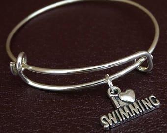 I love Swimming Bracelet, I love Swimming Bangle, Swim Team Gift, Swim Coach Gift, Swimming Bracelet, Swimming Bangle, Swimming Jewelry