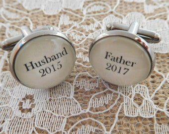 Personalised Husband & Father cufflinks - New Daddy / dad gift, Great Birthday, Father's Day or Christmas gift for husband