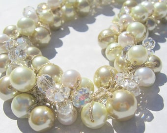 Chunky Statement VINTAGE STYLE  Wedding Necklace, Blushing Pink, Gold, Ivory Pearls, Crystal Cluster Twist  Hand Knit Necklace