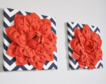 Coral and Navy Nautical Wall Hangings - Coral Flower Wall Art - Navy Coral Wall Decor - Nursery - Bedroom - Bathroom