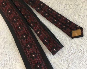 black and red skinny tie, 80s skinny tie, Vintage Necktie, Mens Neck Tie, Vintage Cravat