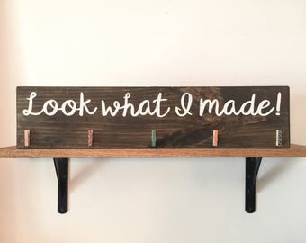 Look what I made! Wood sign with fun clothes pins