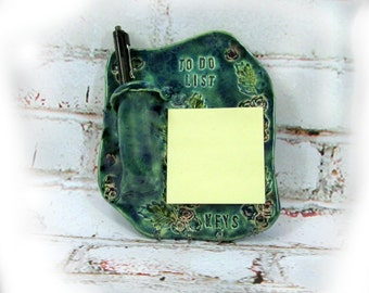 Key Holder Handmade, Sticky Note Holder, Pottery Key Holder, Key Note Organizer,   #  140