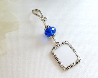 Wedding bouquet photo charm with deep blue crystal and small picture frame. Bridal bouquet charm. Memorial photo charm. Bridal shower gift.