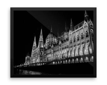 urban photography framed print wanderlust black and white Budapest Europe travel photography fine art photography gift for him night photo