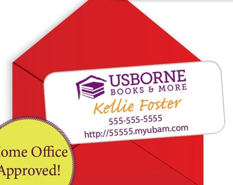 """Usborne Sticker Address Labels, Printed Stickers, 1"""" x 2.625"""", 30 per page HOME OFFICE APPROVED"""