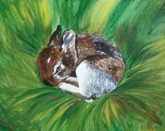 8x10 inch Bunny Rabbit painting