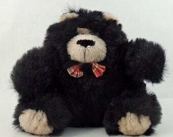 Vintage 80s Black Bear Plushie, Stuffed Teddy Bear, Stuffed Bear, Bear Lovers Gift, Soft Bear, Sitting Bear, Cute Bear, Fuzzy Bear