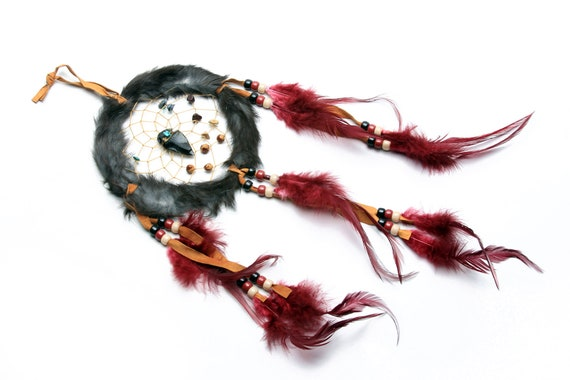 Large Handmade Navajo Dream Catcher with feathers and rabbit fur. Medicine stones and arrowhead