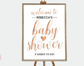 Marvelous Rose Gold Baby Shower Sign ...