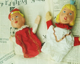 Vintage Two Hand puppets- Soviet vintage Hand puppets- Vintage prince and princess- Old Hand Puppets -Petrushka Toys-Kids puppets theatre