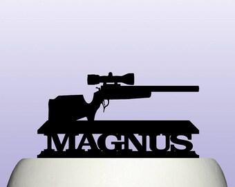Personalised Acrylic Hunting Rifle Cake Topper Decoration & Keepsake Gift Idea